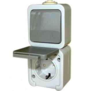 Розетка одинарная с переключателем с з/к, IP 44 (блистер)