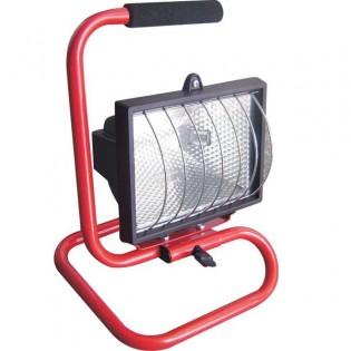 Прожектор под галогенную лампу переносной, красный, 150Вт