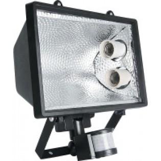 Прожектор под энергосберегающую лампу с датчиком движения, 2 патрона Е27, черный;