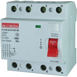 Выключатель дифференциального тока,  4р, 63А, 30мА (pro) E.NEXT
