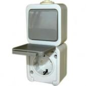 Розетка одинарная с переключателем с з/к , IP 44