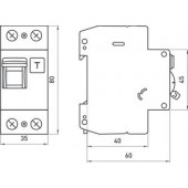 Выключатель дифференциального тока с защитой от сверхтоков, 2р, 20А, С, 300мА (industrial)