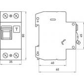 Выключатель дифференциального тока с защитой от сверхтоков, 2р, 25А, С, 300мА (industrial)