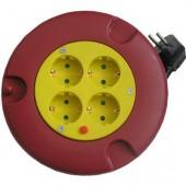 Удлинитель, 3м, в круглом корпусе 4, 4 гнезда, заземление, защита от перегрузки, защитные шторки