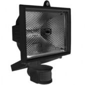 Прожектор под галогенную лампу с датчиком движения, 500Вт, черный