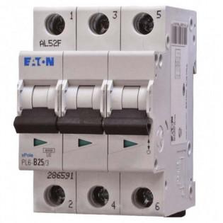 Модульный автоматический выключатель PL6-C25/3, 6kA, 3p, 25A MOELLER-EATON