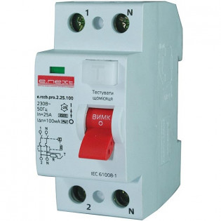 Выключатель дифференциального тока,  2р, 25А, 10мА (pro) E.NEXT
